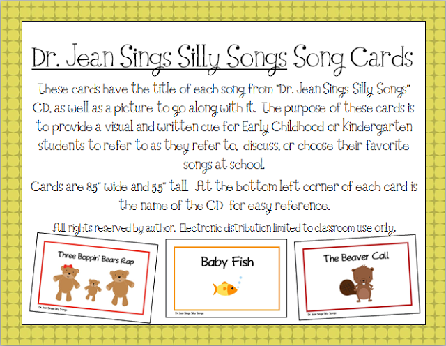 doctor song for preschool quot dr jean sings silly songs quot printable song cards 690