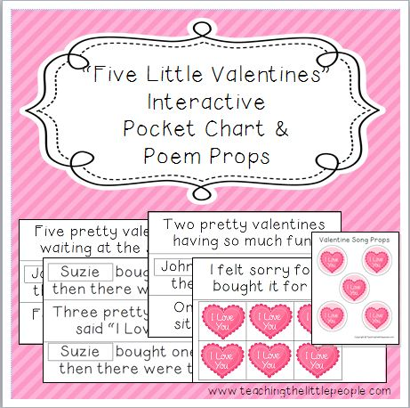 Five Little Valentines Interactive Pocket Chart and Poem Props Image