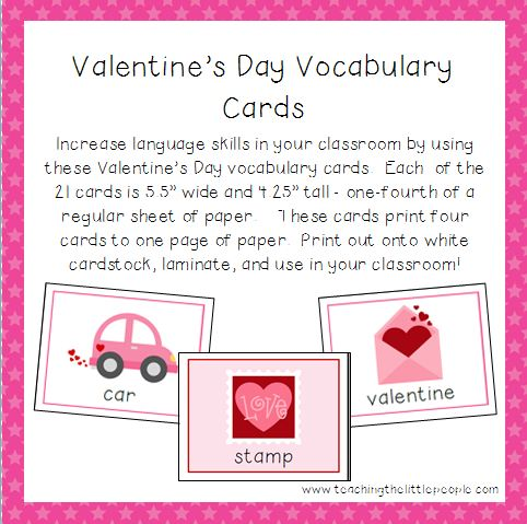 Valentines Day Vocabulary Cards for Preschool and Kindergarten – Valentine Cards for Kindergarten
