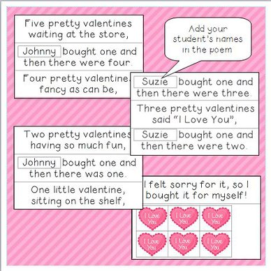 Five Little Valentines Interactive Pocket Chart Teaching The Little