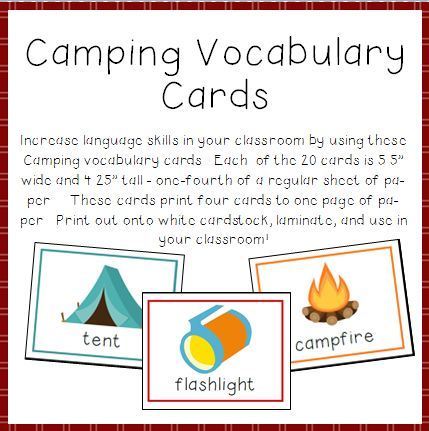 Camping Vocabulary Cards for Preschool and Kindergarten Image
