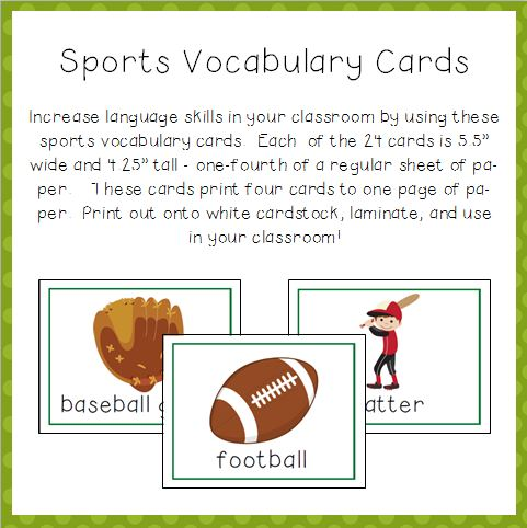 Sports Vocabulary Cards for Preschool and Kindergarten Image