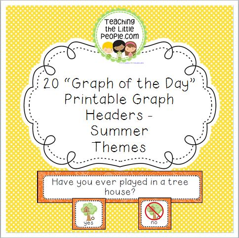 Summer Daily Graph Printables - 20 Full-Color Graph Questions Image