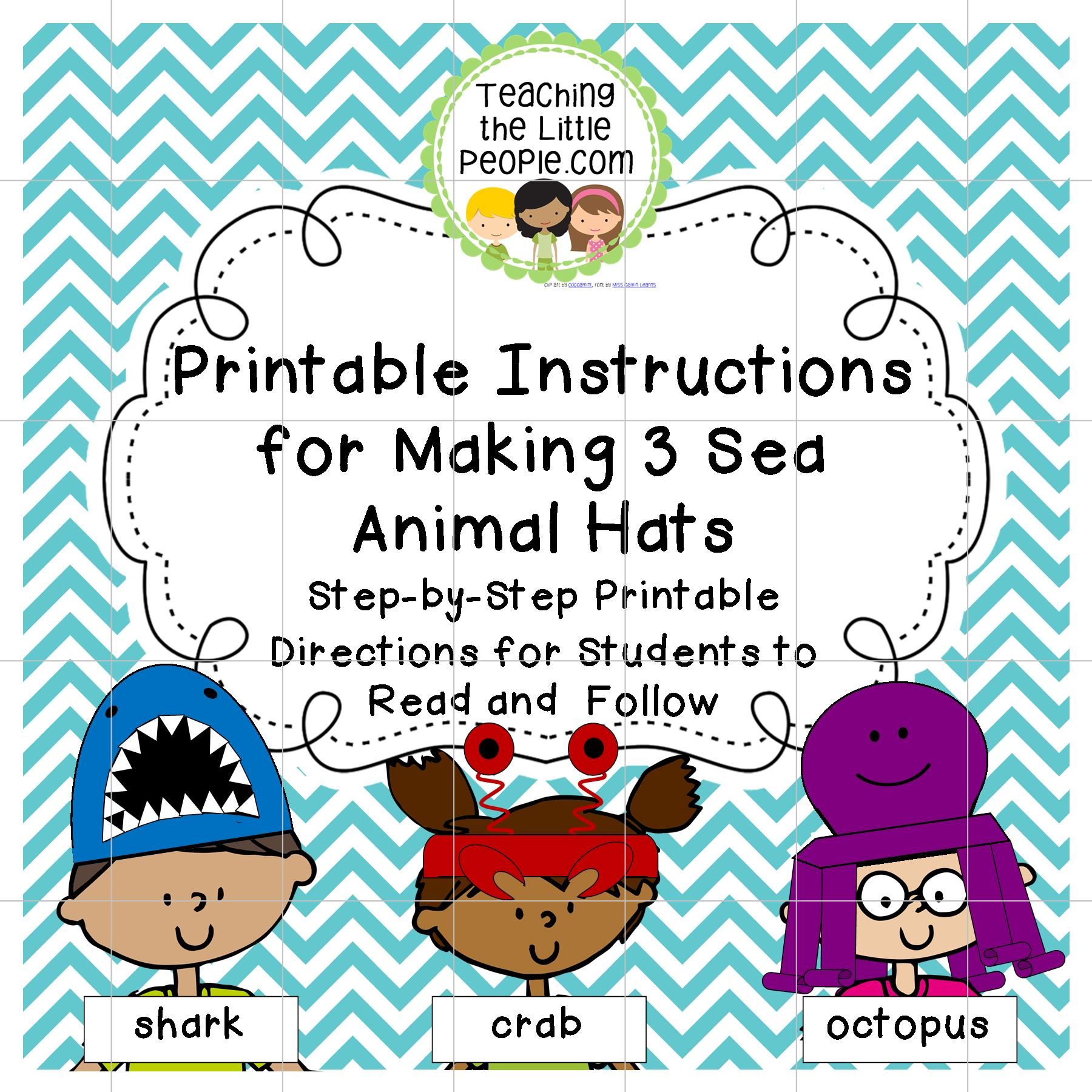 Printable Instructions for Students to Follow to Make 3 Sea Animal Hats Image