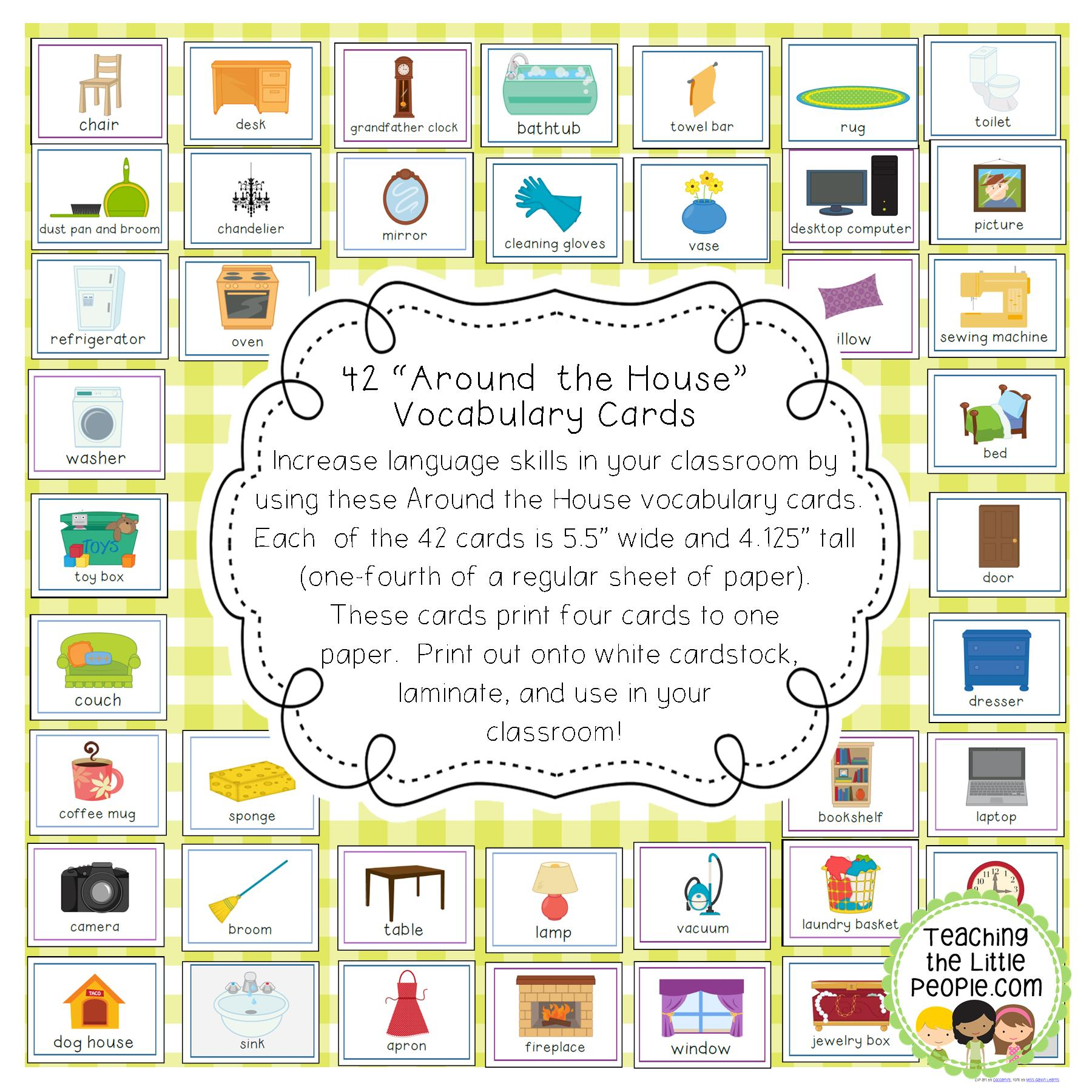 42 Around the House Vocabulary Cards for Early Grades Image