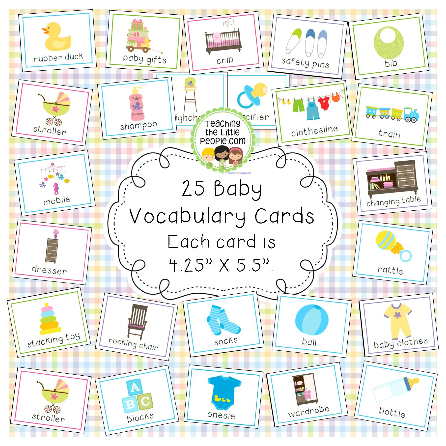 Baby Vocabulary Cards for Preschool and Kindergarten Image