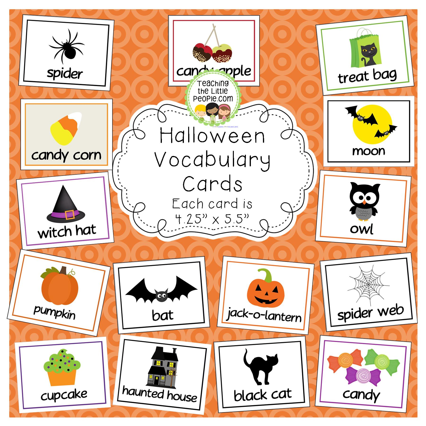 halloween vocabularyword cards for early childhood and kindergarten image - Halloween Vocab Words