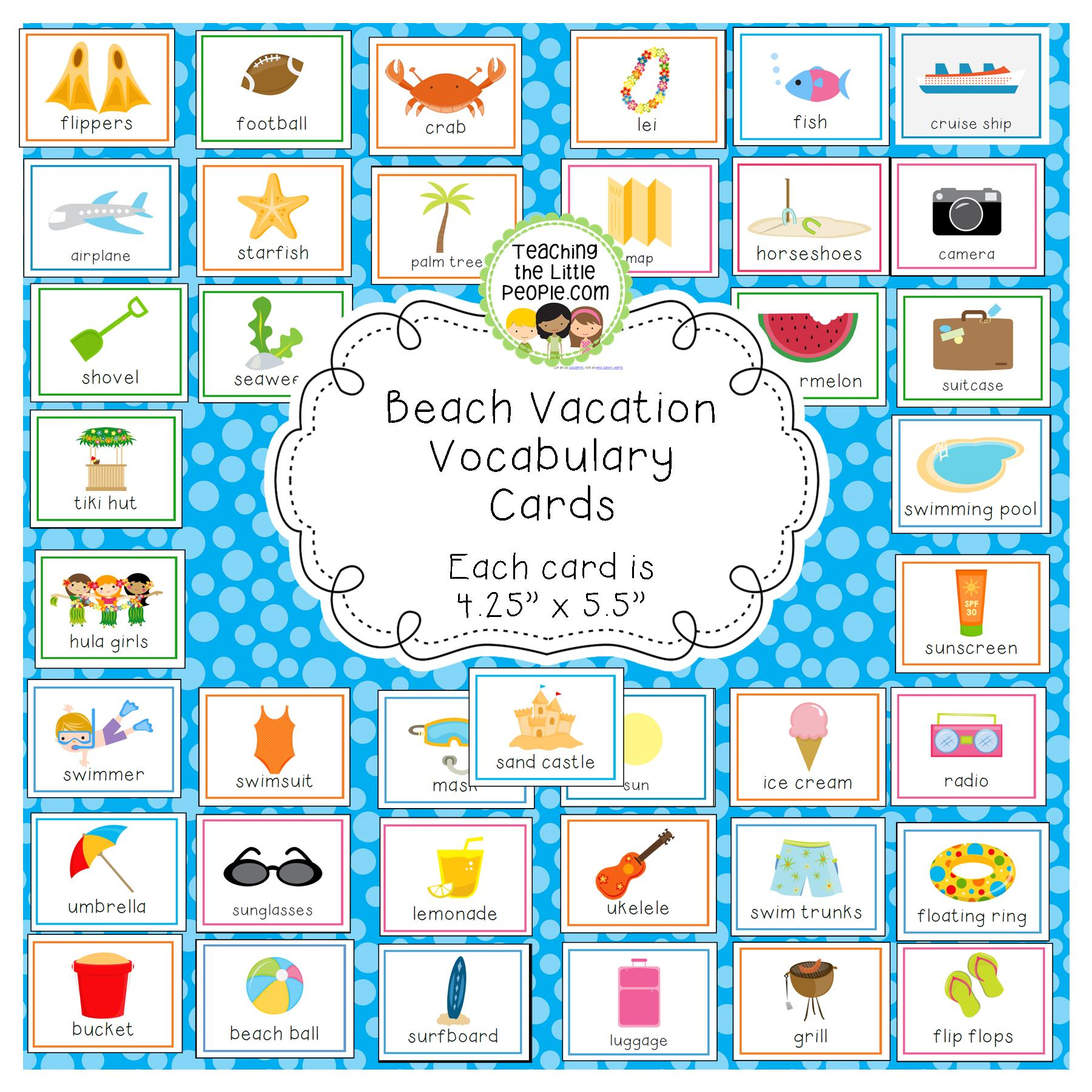 Beach Vacation Vocabulary Cards for Preschool and Kindergarten Image