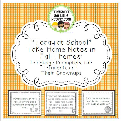 Today at School Take-Home Language Prompters Notes in Fall Themes Image