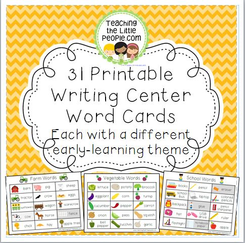 Writing Center Word Cards for 32 Different Early Learning Themes Image