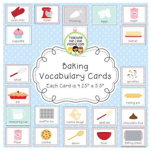 Baking Vocabulary Cards for Preschool and Kindergarten Image