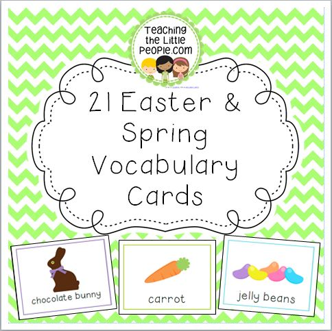 Easter & Spring Vocabulary Cards for Preschool and Kindergarten Image