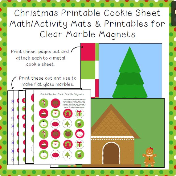 Christmas Tree Printables to Make a Magnet Board and Glass Marble Magnets Image