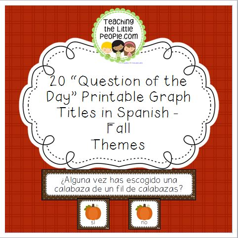 Fall Question of the Day Graph Printables in Spanish - 20 Graph Titles Image
