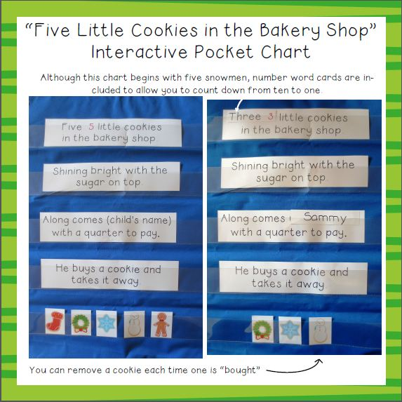 Five Little Cookies in the Bakery Shop Interactive Pocket Chart Image