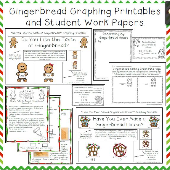 Gingerbread Activities, Graphing Printables and Student Pages Image