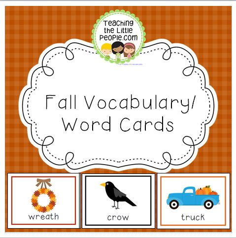 Fall Vocabulary Cards for Preschool and Kindergarten Image