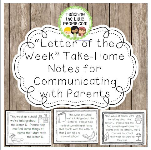 Letter of the Week Take-Home Notes for Parents Image